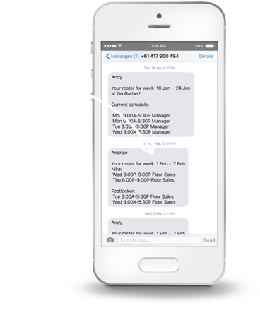 Send Staff Rosters Via Email & SMS Text Messages | Zenshifts